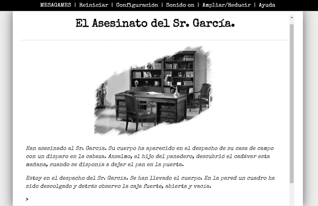 Interfaz de texto continuo - El Asesinato del Señor García